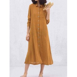 Casual Solid Color Pocket Long Sleeve Button Dress