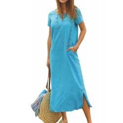 Casual Solid Color Short Sleeve Split Hem Dress