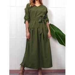 Casual V-neck Adjustable Long Sleeve Side Slit Pleated Dress
