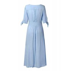 Casual V-neck Button Half Sleeve Dress