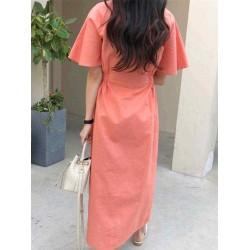 Casual V-neck Elastic Waist Solid Color Button Dress