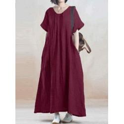 Casual Vintage Pleat Pure Color Maxi Dress