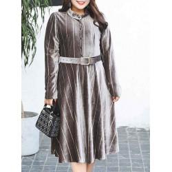Plus Size Elegant Women Stripe Gold Velvet Dress