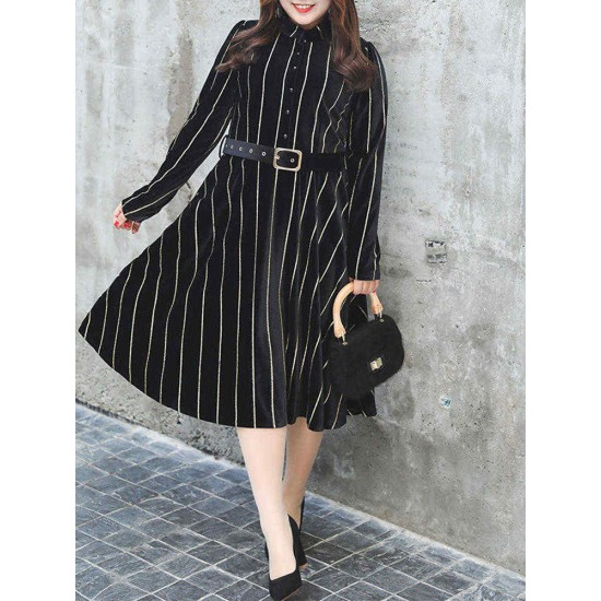 Plus Size Elegant Women Stripe Gold Velvet Dress
