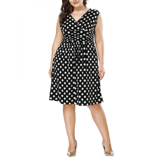 Plus Size Polka Dot V-neck Sleeveless Women Dress