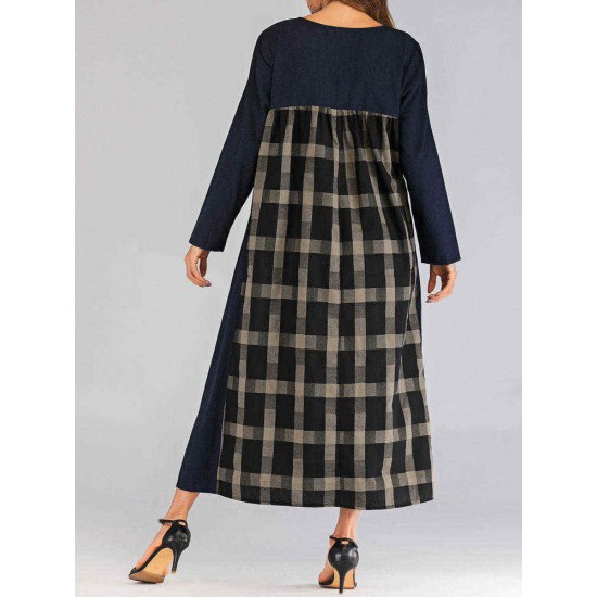 Women O-neck Long Sleeve Plaid Patchwork Dress with Pockets