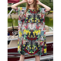 Women O-neck Short Sleeve Floral Print Loose Dress