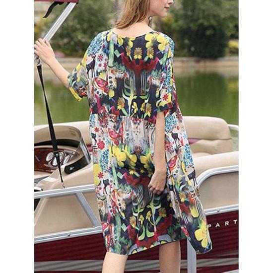 Women O-neck Short Sleeve Floral Print Loose Dress