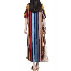 ZANZEA Women Casual Dress Loose Maxi Dresses Vertical Striped Pockets Cotton Dress