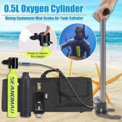 0.5L Diving Scuba Cylinder Underwater Oxygen Tank Breath Head Adapter Pump Equipment