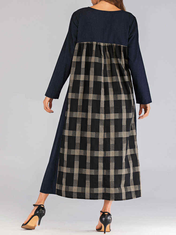 Women-O-neck-Long-Sleeve-Plaid-Patchwork-Dress-with-Pockets-1442911